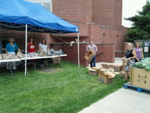 Food distribution at Frederick Church of the Brethren.